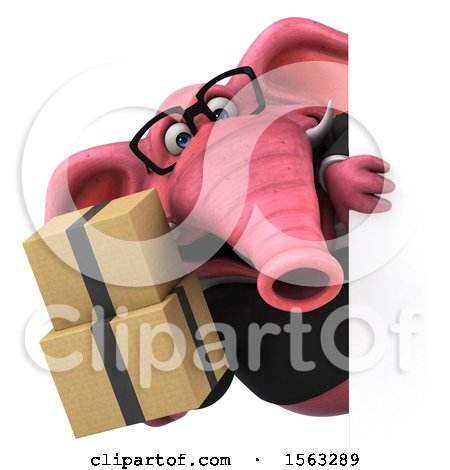 Clipart of a 3d Pink Business Elephant Holding Boxes, on a White Background - Royalty Free Illustration by Julos