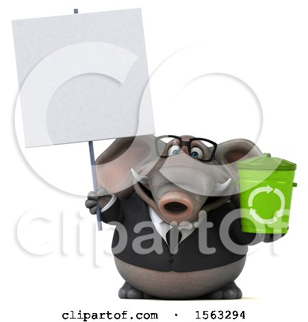 Clipart of a 3d Business Elephant Holding a Recycle Bin, on a White Background - Royalty Free Illustration by Julos