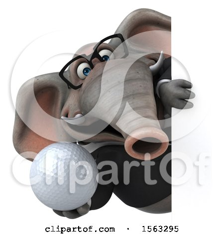Clipart of a 3d Business Elephant Holding a Golf Ball, on a White Background - Royalty Free Illustration by Julos