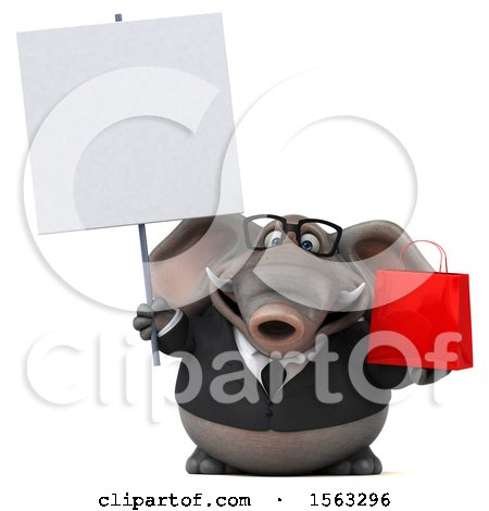 Clipart of a 3d Business Elephant Holding a Shopping Bag, on a White Background - Royalty Free Illustration by Julos