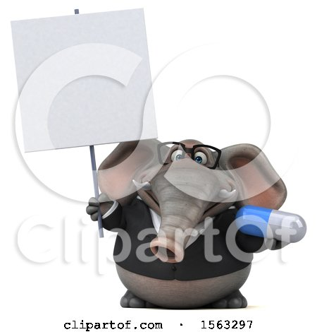 Clipart of a 3d Business Elephant Holding a Pill, on a White Background - Royalty Free Illustration by Julos