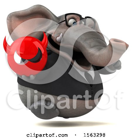 Clipart of a 3d Business Elephant Holding a Devil, on a White Background - Royalty Free Illustration by Julos