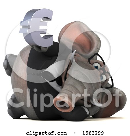 Clipart of a 3d Business Elephant Holding a Euro, on a White Background - Royalty Free Illustration by Julos