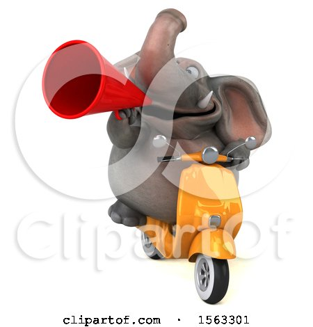 Clipart of a 3d Elephant Riding a Moped, on a White Background - Royalty Free Illustration by Julos