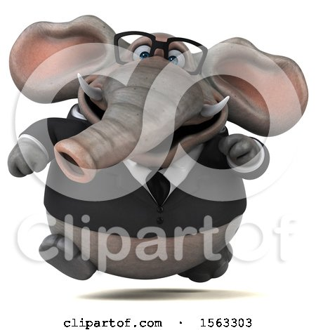 Clipart of a 3d Business Elephant Running, on a White Background - Royalty Free Illustration by Julos