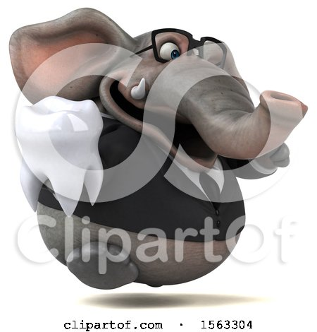 Clipart of a 3d Business Elephant Holding a Tooth, on a White Background - Royalty Free Illustration by Julos