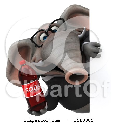 Clipart of a 3d Business Elephant Holding a Soda, on a White Background - Royalty Free Illustration by Julos