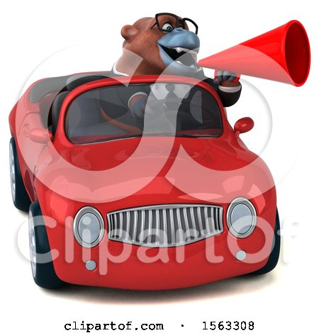 Clipart of a 3d Business Orangutan Monkey Driving a Convertible, on a White Background - Royalty Free Illustration by Julos