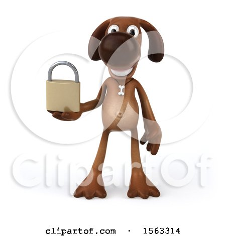 Clipart of a 3d Brown Chocolate Lab Dog Holding a Padlock, on a White Background - Royalty Free Illustration by Julos