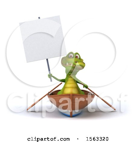 Clipart of a 3d Crocodile Rowing a Boat, on a White Background - Royalty Free Illustration by Julos