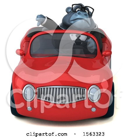 Clipart of a 3d Business Gorilla Mascot Driving a Convertible, on a White Background - Royalty Free Illustration by Julos