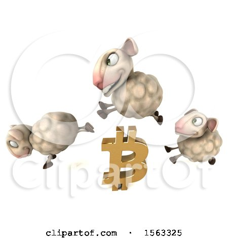 Clipart of a 3d Group of Sheep with a Bitcoin Currency Symbol, on a White Background - Royalty Free Illustration by Julos