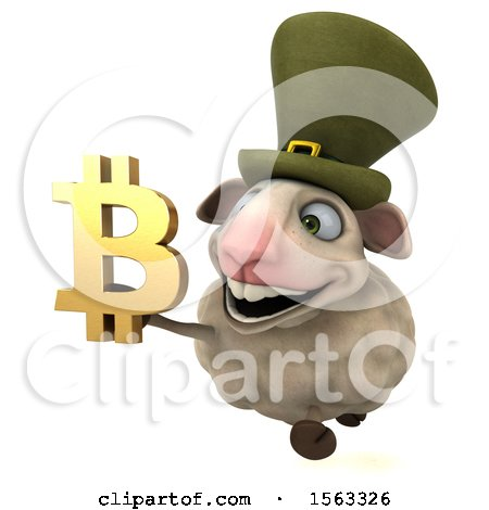 Clipart of a 3d Sheep with a Bitcoin Currency Symbol, on a White Background - Royalty Free Illustration by Julos