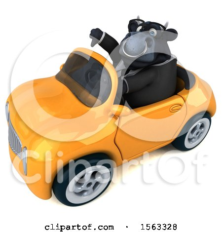 Clipart of a 3d Black Business Bull Driving a Convertible, on a White Background - Royalty Free Illustration by Julos