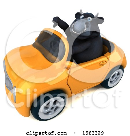 Clipart of a 3d Black Bull Driving a Convertible, on a White Background - Royalty Free Illustration by Julos