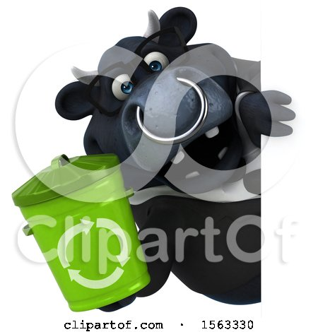 Clipart of a 3d Black Business Bull Holding a Recycle Bin, on a White Background - Royalty Free Illustration by Julos