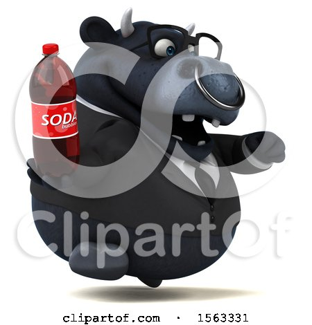 Clipart of a 3d Black Business Bull Holding a Soda, on a White Background - Royalty Free Illustration by Julos