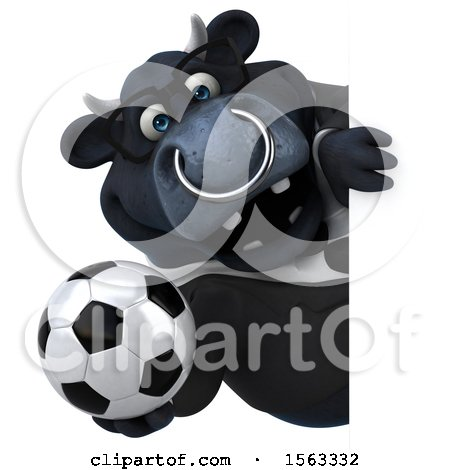 Clipart of a 3d Black Business Bull Holding a Soccer Ball, on a White Background - Royalty Free Illustration by Julos