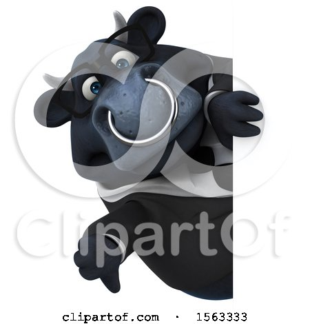 Clipart of a 3d Black Business Bull Holding a Thumb Down, on a White Background - Royalty Free Illustration by Julos