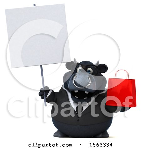 Clipart of a 3d Black Business Bull Holding a Shopping Bag, on a White Background - Royalty Free Illustration by Julos