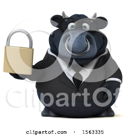 Clipart of a 3d Black Business Bull Holding a Padlock, on a White Background - Royalty Free Illustration by Julos