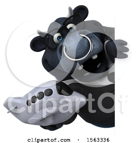 Clipart of a 3d Black Business Bull Holding a Plane, on a White Background - Royalty Free Illustration by Julos