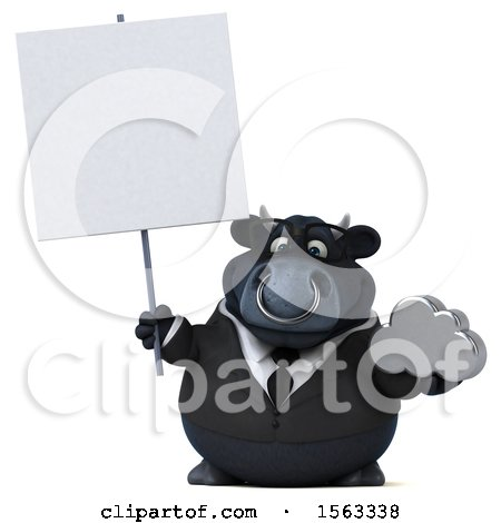 Clipart of a 3d Black Business Bull Holding a Cloud, on a White Background - Royalty Free Illustration by Julos
