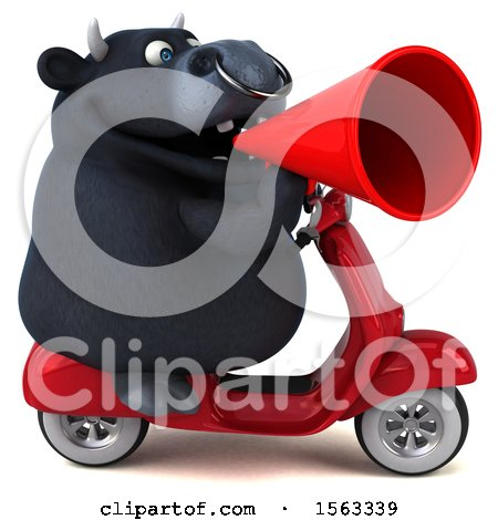 Clipart of a 3d Black Bull Riding a Scooter, on a White Background - Royalty Free Illustration by Julos