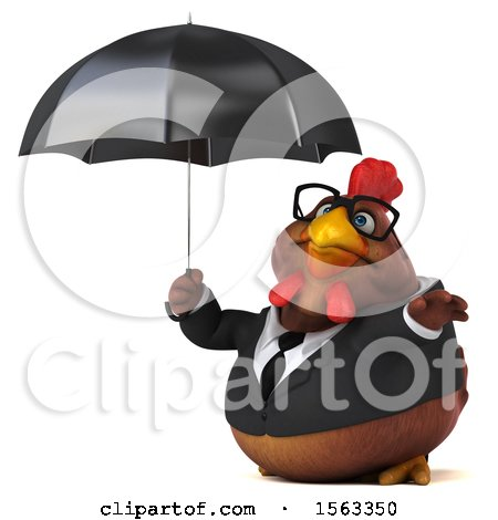 Clipart of a 3d Chubby Brown Business Chicken Holding an Umbrella, on a White Background - Royalty Free Illustration by Julos
