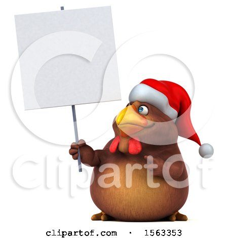 Clipart of a 3d Chubby Brown Christmas Chicken Holding a Sign, on a White Background - Royalty Free Illustration by Julos