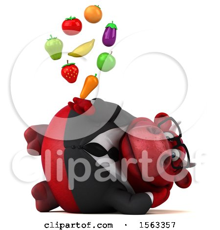 Clipart of a 3d Red Business Bull Holding Produce, on a White Background - Royalty Free Illustration by Julos