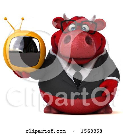 Clipart of a 3d Red Business Bull Holding a Tv, on a White Background - Royalty Free Illustration by Julos