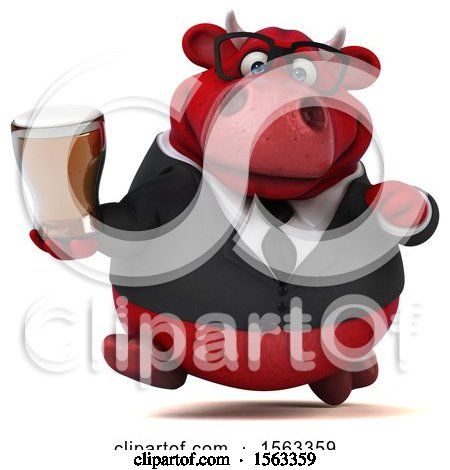 Clipart of a 3d Red Business Bull Holding a Beer, on a White Background - Royalty Free Illustration by Julos