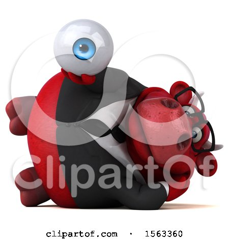 Clipart of a 3d Red Business Bull Holding an Eyeball, on a White Background - Royalty Free Illustration by Julos
