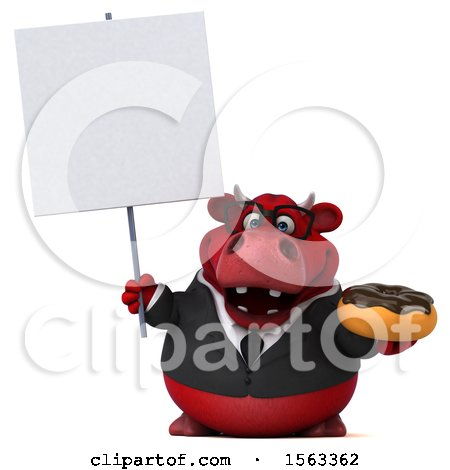 Clipart of a 3d Red Business Bull Holding a Donut, on a White Background - Royalty Free Illustration by Julos