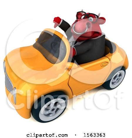 Clipart of a 3d Red Business Bull Driving a Convertible, on a White Background - Royalty Free Illustration by Julos