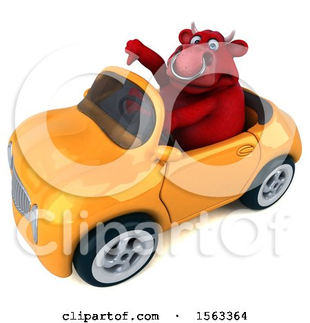 Clipart of a 3d Red Bull Driving a Convertible, on a White Background - Royalty Free Illustration by Julos