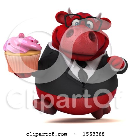 Clipart of a 3d Red Business Bull Holding a Cupcake, on a White Background - Royalty Free Illustration by Julos