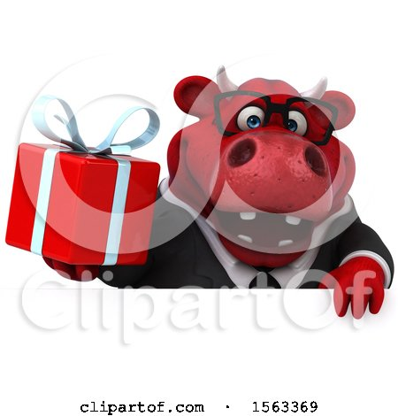 Clipart of a 3d Red Business Bull Holding a Gift, on a White Background - Royalty Free Illustration by Julos