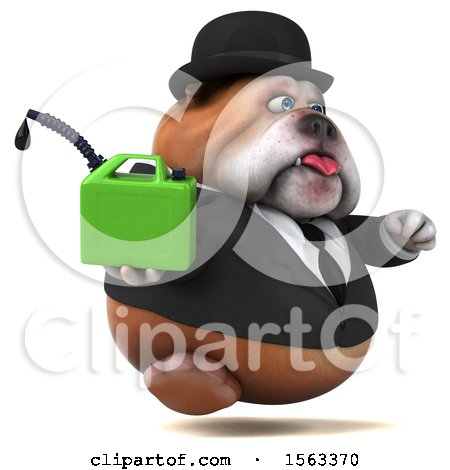 Clipart of a 3d Gentleman or Business Bulldog Holding a Gas Can, on a White Background - Royalty Free Illustration by Julos