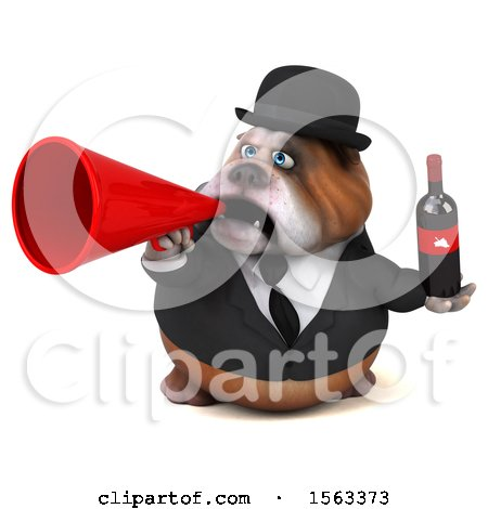 Clipart of a 3d Gentleman or Business Bulldog Holding Wine, on a White Background - Royalty Free Illustration by Julos