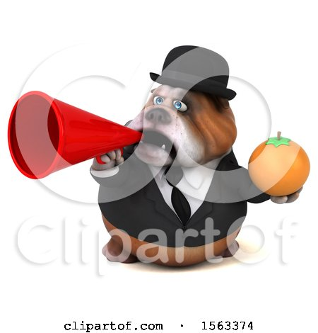 Clipart of a 3d Gentleman or Business Bulldog Holding an Orange, on a White Background - Royalty Free Illustration by Julos