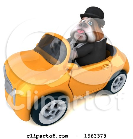 Clipart of a 3d Gentleman or Business Bulldog Driving a Convertible, on a White Background - Royalty Free Illustration by Julos