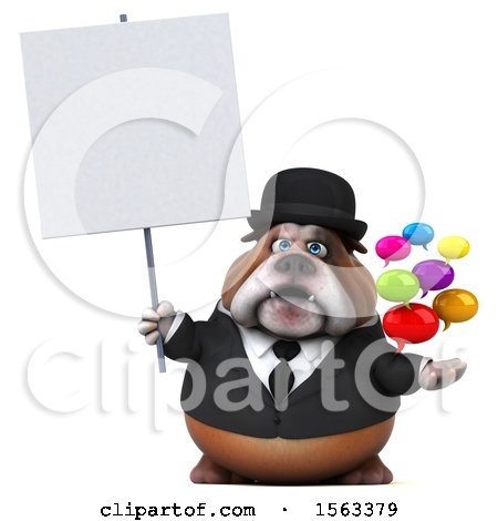 Clipart of a 3d Gentleman or Business Bulldog Holding Messages, on a White Background - Royalty Free Illustration by Julos