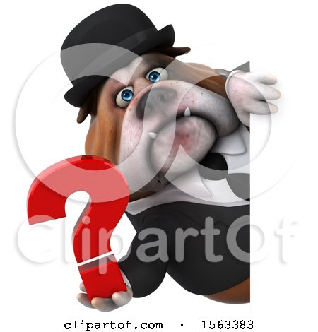 Clipart of a 3d Gentleman or Business Bulldog Holding a Question Mark, on a White Background - Royalty Free Illustration by Julos