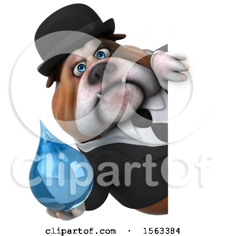 Clipart of a 3d Gentleman or Business Bulldog Holding a Water Drop, on a White Background - Royalty Free Illustration by Julos