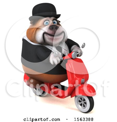 Clipart of a 3d Gentleman or Business Bulldog Holding a , on a White Background - Royalty Free Illustration by Julos