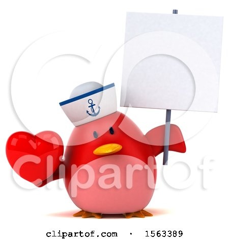 Clipart of a 3d Red Bird Sailor Holding a Heart, on a White Background - Royalty Free Illustration by Julos