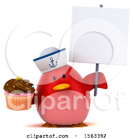 Clipart of a 3d Red Bird Sailor Holding a Cupcake, on a White Background - Royalty Free Illustration by Julos