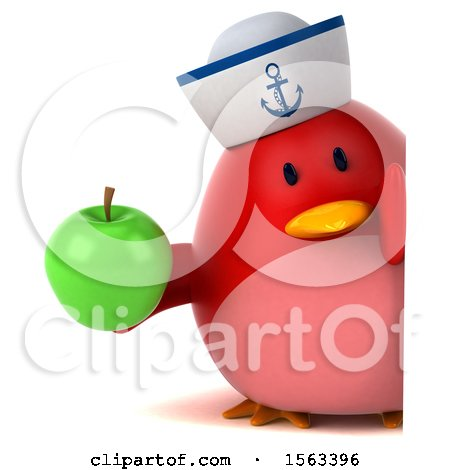 Clipart of a 3d Red Bird Sailor Holding an Apple, on a White Background - Royalty Free Illustration by Julos
